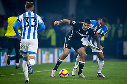 Aleksandar Mitrovic of Fulham takes on Mathias Zanka Jorgensen of Huddersfield Town - Mandatory by-line: Robbie Stephenson/JMP - 05/11/2018 - FOOTBALL - John Smith's Stadium - Huddersfield, England - Huddersfield Town v Fulham - Premier League