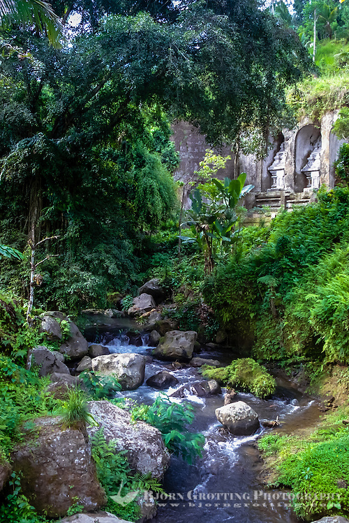 Bali, Gianyar, Gunung Kawi. An 11th century temple complex close to Tampaksiring. One of the most fascinating ancient sites on Bali.