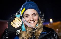 February 13, 2018 - Stockholm, Sweden - OS 2018 i Pyeongchang. Sprint, damer. Stina Nilsson, längdskidÃ¥kare Sverige, vann. tävling action landslaget guld guldmedalj glad (Credit Image: © Orre Pontus/Aftonbladet/IBL via ZUMA Wire)