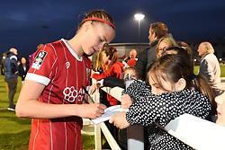 Julie Biesmans of Bristol City Women signs an autograph - Mandatory by-line: Paul Knight/JMP - 03/05/2018 - FOOTBALL - Stoke Gifford Stadium - Bristol, England - Bristol City Women v Manchester City Women - FA Women's Super League 1