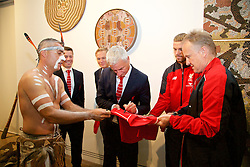 ADELAIDE, AUSTRALIA - Sunday, July 19, 2015: Liverpool's Ian Rush signs a shirt for Karl Winda Telfe of Aboriginal dance group Paitya during a visit to the Art Gallery of South Australia ahead of a preseason friendly match against Adelaide United on day seven of the club's preseason tour. (Pic by David Rawcliffe/Propaganda)
