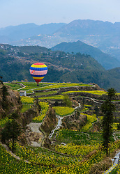 A hot air balloon is seen on terraced fields of rape blossoms in Xiaozhoushan Township of Qingtian County, east China's Zhejiang Province, March 29, 2016. EXPA Pictures © 2016, PhotoCredit: EXPA/ Photoshot/ Xu Yu<br /> <br /> *****ATTENTION - for AUT, SLO, CRO, SRB, BIH, MAZ, SUI only*****