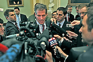 Scott Brown,senator elect, talks to media after meeting with Majority Leader Harry Reid D-AZ. Photo by Dennis Brack