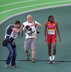 Brittney Reese (1st R) of the United States reacts after winning the gold medal in the Women's Long Jump Final during day two of the IAAF World Indoor Championships at Oregon Convention Center in Portland, Oregon, the United States, on March 18, 2016. EXPA Pictures © 2016, PhotoCredit: EXPA/ Photoshot/ Yin Bogu<br /> <br /> *****ATTENTION - for AUT, SLO, CRO, SRB, BIH, MAZ, SUI only*****