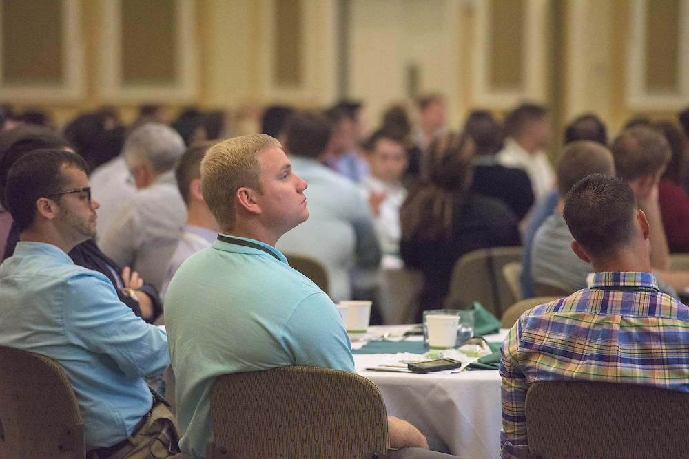 Andrew Lamping attends the Ohio MBA Leadership Development Workshop with speaker Dr. Jason Stoner, Associate Professor in the Ohio University College of Business, in the Baker Center ballroom on Saturday, August 27, 2016.