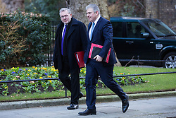 London, UK. 8th January, 2019. David Mundell MP, Secretary of State for Scotland, and Brandon Lewis MP, Minister Without Portfolio, arrive at 10 Downing Street for the first Cabinet meeting since the Christmas recess.