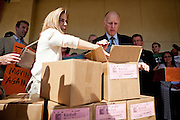 California First Lady Anne Gust Brown, left, and Gov. Brown inspect  boxes of petitions for Gov. Brown's initiative to temporarily raise income taxes on high earners and increase sales taxes for four years in Sacramento, Calif., May 10, 2012.