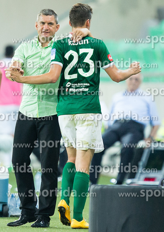 Marijan Pusnik, head coach and Nik Kapun #23 of Olimpija during football match between NK Olimpija Ljubljana and ND Gorica in 1st Round of Prva liga Telekom Slovenije 2015/16, on July 18, 2015 in SRC Stozice, Ljubljana, Slovenia. Photo by Vid Ponikvar / Sportida