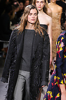 Mathilde Brandi walks the runway wearing Jason Wu Fall 2016, Hair by Paul Hanlon for Morocconoil, Makeup by Yadim for Maybelline, shot by Thomas Concordia during New York Fashion Week on February 12, 2016