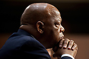 "Rep. JOHN LEWIS (D-GA) listens to testimony during a Senate Judiciary Committee hearing on the ""Respect for Marriage Act: Assessing the Impact of DOMA (Defense of Marriage Act) on American Families,"" to repeal DOMA and restore the rights of all lawfully married couples, including same-sex couples, to receive the benefits of marriage under federal law."