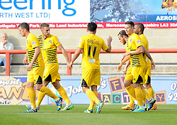 Bristol Rovers celebrate the goal from Billy Bodin of Bristol Rovers(R) - Mandatory byline: Neil Brookman/JMP - 07966 386802 - 03/10/2015 - FOOTBALL - Globe Arena - Morecambe, England - Morecambe FC v Bristol Rovers - Sky Bet League Two
