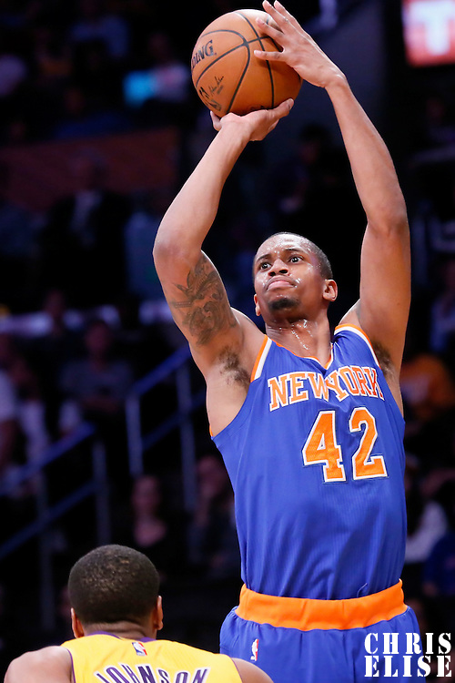 12 March 2015: New York Knicks forward Lance Thomas (42) takes a jump shot over Los Angeles Lakers forward Wesley Johnson (11) during the New York Knicks 101-94 victory over the Los Angeles Lakers, at the Staples Center, Los Angeles, California, USA.