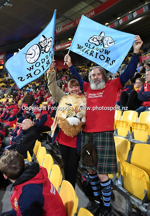 Lions fans wave Glasgow Warriors flags.<br /> Hurricanes v British &amp; Irish Lions, Westpac Stadium, Wellington, New Zealand, Tuesday 27th June 2017<br /> ***Please credit: Fotosport/David Gibson***