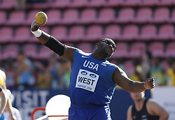 July 10, 2018 - Tampere, Suomi Finland - 180710 Friidrott, Junior-VM, Dag 1: Jordan West USA competes in Shot Put  during the IAAF World U20 Championships day 1 at the Ratina stadion 10. July 2018 in Tampere, Finland. (Newspix24/Kalle Parkkinen) (Credit Image: © Kalle Parkkinen/Bildbyran via ZUMA Press)