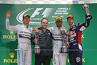 The podium (L to R): Nico Rosberg (GER) Mercedes AMG F1, second; Lewis Hamilton (GBR) Mercedes AMG F1, race winner; Sebastian Vettel (GER) Red Bull Racing, third.<br /> Japanese Grand Prix, Sunday 5th October 2014. Suzuka, Japan.