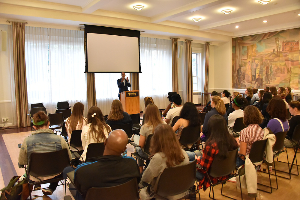 9/21/17 – Medford/Somerville, MA – Yale law professor and former public defender James Forman Jr. discusses the roots of mass incarceration in the United States during a Tufts University Prison Initiative at the Tisch College of Civic Life (TUPIT) event in Alumnae Lounge on Sept. 21. (Seohyun Shim / The Tufts Daily)