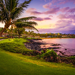 Maui Hawaii sunrise with a plam tree along Wailea Beach Path at Wailea Beach. Copyright ⓒ 2019 Paul Velgos with All Rights Reserved.