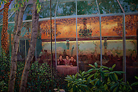 Kay LeRoy, widow of Warner LeRoy, the former owner of Tavern on the Green, in the Chrystal Room gives a tour of what is to be auctioned as the restaurant nears it's end. Pictured is a 45' oil painting dividing wall depicting scenes of Central Park. Pictured is a detail painting of her late husband, son, and designer of Tavern On The Green. .(Photo by Robert Caplin)..