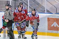 2020-01-19 | Umeå, Sweden: Teg (26) Patrik Enberg score 3-0 to Teg in AllEttan during the game  between Teg and Vallentuna at A3 Arena ( Photo by: Michael Lundström | Swe Press Photo )<br /> <br /> Keywords: Umeå, Hockey, AllEttan, A3 Arena, Teg, Vallentuna, mltv200119, happy happiness celebration celebrates