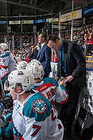 KELOWNA, CANADA - DECEMBER 27: Kelowna Rockets' assistant coach Kris Mallette goes over a play on the bench against the Kamloops Blazers on December 27, 2017 at Prospera Place in Kelowna, British Columbia, Canada.  (Photo by Marissa Baecker/Shoot the Breeze)  *** Local Caption ***