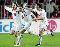 Fotball / Soccer<br /> Play off VM 2006 / Play off World Champio0nships 2006<br /> Tsjekkia v Norge 1-0<br /> Czech Republic v Norway 1-0<br /> Agg: 2-0<br /> 16.11.2005<br /> Foto: Morten Olsen, Digitalsport<br /> <br /> Tomas Rosicky (10) celebrating his goal - together with  Marek Jankulovski (6) and Tomas Ujfalusi (21)