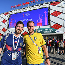 A fan of France and a fan of Brazil during the FIFA World Cup Group E match between Serbia and Brazil on June 27, 2018 in Moscow, Russia. (Photo by Anthony Dibon/Icon Sport)