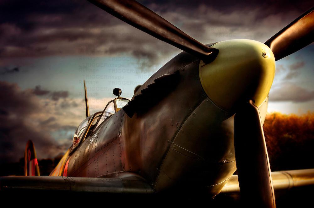 Close up of Supermarine Spitfire taken at Sunset