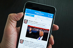 Official Twitter page of Donald Trump on iPhone 6 Plus smart phone