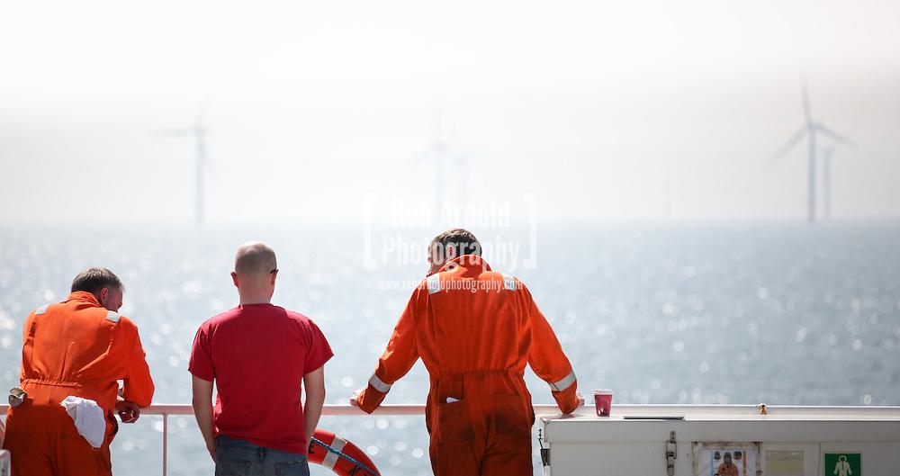 Aboard the Fugro Saltire on the Gwynt y Mor Offshore Wind Farm