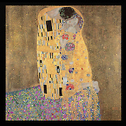 The Kiss, 1908-9, oil and gold leaf on canvas, by Gustav Klimt, 1862-1918, from the collection of the Osterreichische Galerie Belvedere, Belvedere Palce, Vienna, Austria. This painting is from Klimt's Golden Period, in Jugendstil or Viennese Art Nouveau style. Picture by Manuel Cohen
