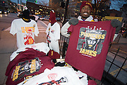 Dec. 2, 2010; Cleveland, OH, USA;  Derrick Tatum sells t-shirts across the street from Quicken Loans Arena prior to the game between the Cleveland Cavaliers and the Miami Heat. Mandatory Credit: Jason Miller-US PRESSWIRE