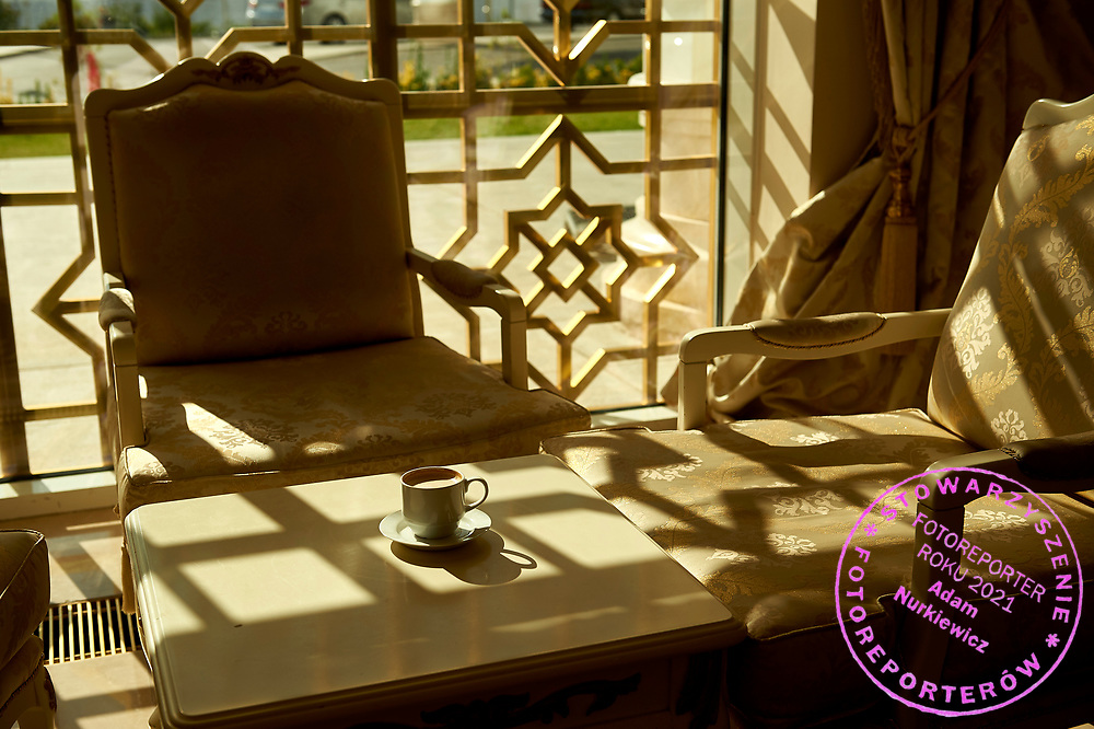 Ashgabat, Turkmenistan - 2017 September 20: Cup of coffee on the table in the morning at Ashgabat Hotel  while 2017 Ashgabat 5th Asian Indoor & Martial Arts Games on September 20, 2017 in Ashgabat, Turkmenistan.<br /> <br /> Mandatory credit:<br /> Photo by © Adam Nurkiewicz<br /> <br /> Adam Nurkiewicz declares that he has no rights to the image of people at the photographs of his authorship.<br /> <br /> Picture also available in RAW (NEF) or TIFF format on special request.<br /> <br /> Any editorial, commercial or promotional use requires written permission from the author of image.