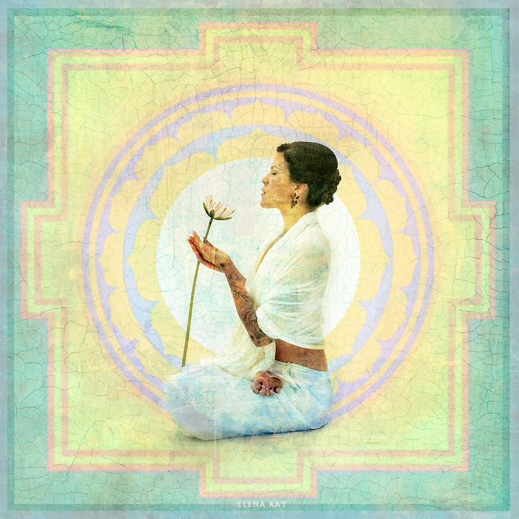 Woman and lotus blossom in Yantra mandala.