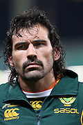 Victor Matfield lines up before the international match between France and South Africa at Stade Municipal on November 13, 2009 in Toulouse, France.