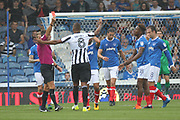 RED CARD Jamal Lowe during the EFL Sky Bet League 1 match between Portsmouth and Rochdale at Fratton Park, Portsmouth, England on 5 August 2017. Photo by Daniel Youngs.