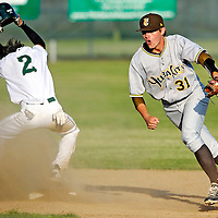 Yuba City High's Zach Oakley begins to run off of the field after making a play at second base to force River Valley High's Austin Spencer out and give the Honkers a 5-4 victory on Tuesday, May 1, 2012. (Nate Chute/Appeal-Democrat)