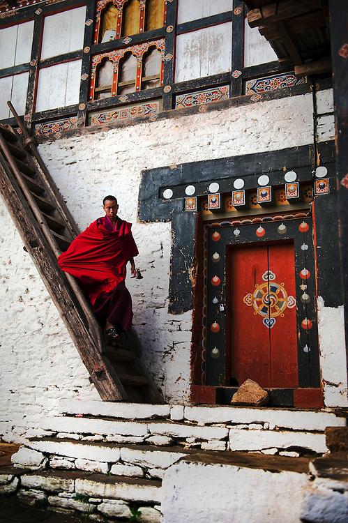A monk at Trongsa Dzong in Bhutan.