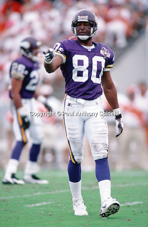 Minnesota Vikings wide receiver Chris Carter (80) points during the NFL football game against the Tampa Bay Buccaneers on Oct. 15, 1995 in Tampa, Fla. The Bucs won the game 20-17 in overtime. (©Paul Anthony Spinelli)
