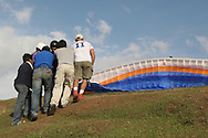 Images of Venezuelan beautty contastants Parasailing in Merida Venezuela's Andes Mountains