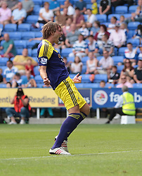 Swansea City midfielder Michu (9) celebrates after scoring a goal during the pre-season friendly game between Reading and Swansea City.  Photo mandatory by-line: Nigel Pitts-Drake/JMP  - Tel: Mobile:07966 386802 27/07/2013 - Reading v  Swansea City  - SPORT - FOOTBALL - pre-season - Reading - Madejski Stadium