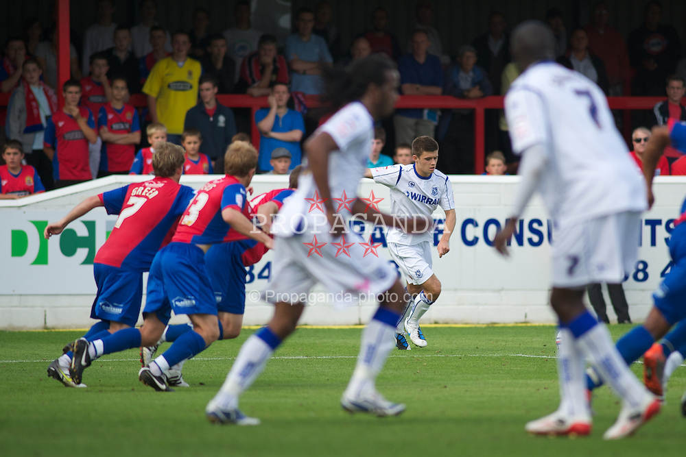 DAGENHAM, ENGLAND - Saturday, August 28, 2010: Tranmere Rovers' Aaron Cresswell scores from his free-kick late on to make it 2-2 against Dagenham & Redbridge during the Football League One match at Victoria Road. (Photo by Gareth Davies/Propaganda)