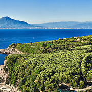 Sorrento Coast, wide panoramic view of the coast with Mount Vesuvius in the background