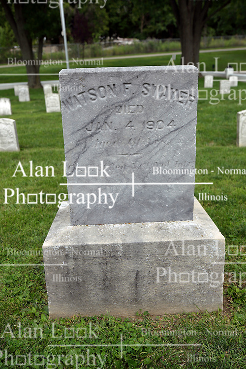 26 August 2017:   A part of the History of McLean County Illinois.<br /> <br /> Tombstones in Evergreen Memorial Cemetery.  Civic leaders, soldiers, and other prominent people are featured. Section 5, the old town soldiers area<br /> Watson F Swayer Died Jan 4, 1904