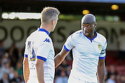 Steve Morison & Sol Bamba during the Friendly match between York City and Leeds United at Bootham Crescent, York, England on 15 July 2015. Photo by Simon Davies.