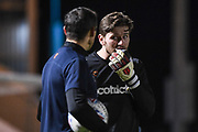 Forest Green Rovers Goalkeeper James Montgomery (13) with his gum shield ahead of the EFL Sky Bet League 2 match between Colchester United and Forest Green Rovers at the JobServe Community Stadium, Colchester, England on 12 March 2019.