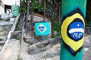 On the streets favelas in Rio de Janeiro. <br /> Brazilian flags and colours in Complexo do Alemao, Rio de Janeiro, 2006