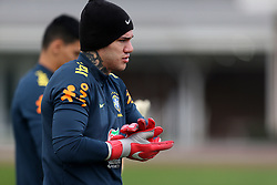 Brazil's Ederson during the training session at London Colney, Hertfordshire.