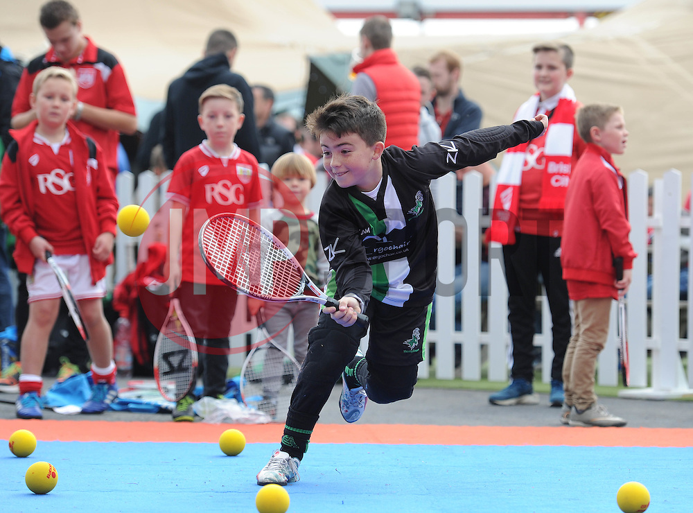 Children take part in a game of tennis run by the Bristol City Community Trust - Mandatory byline: Dougie Allward/JMP - 07966 386802 - 03/10/2015 - FOOTBALL - Ashton Gate - Bristol, England - Bristol City v MK Dons - Sky Bet Championship