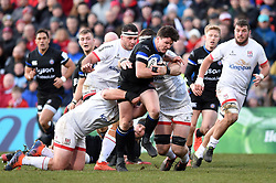 Freddie Burns of Bath Rugby takes on the Ulster defence - Mandatory byline: Patrick Khachfe/JMP - 07966 386802 - 18/01/2020 - RUGBY UNION - Kingspan Stadium - Belfast, Northern Ireland - Ulster Rugby v Bath Rugby - Heineken Champions Cup