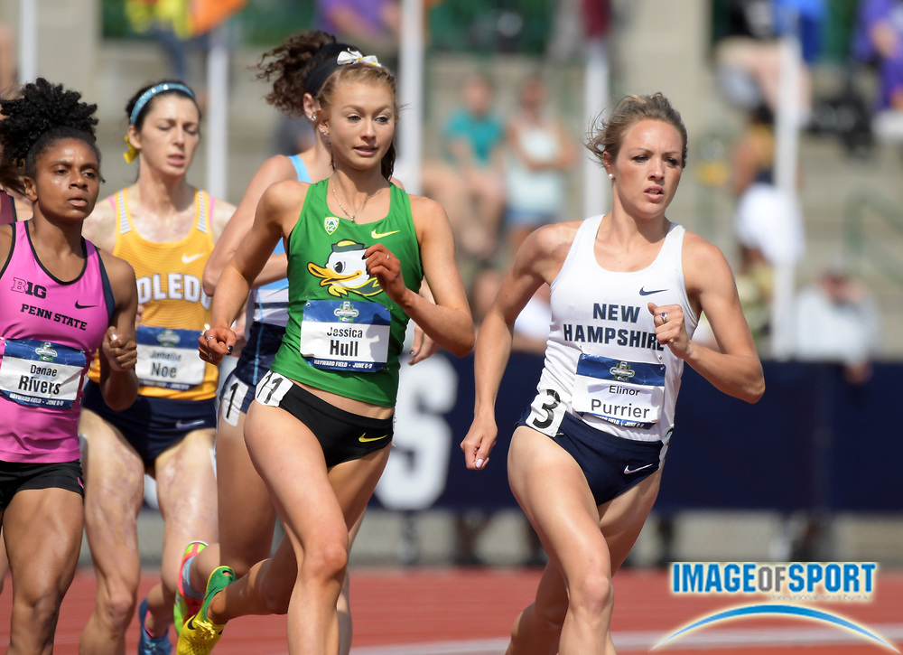 Jun 7, 2018; Eugene, OR, USA; Elinor Purrier of New Hampshire and Jessica Hull of Oregon lead a women's 1,500m heat during the NCAA Track and Field championships at Hayward Field.
